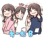 >_< +++ 3girls :d ^_^ akb48 arm_up black_eyes black_hair blue_shirt braid chibi clenched_hand closed_eyes closed_eyes commentary_request grin katou_rena kizaki_yuria long_hair mole mole_under_eye mole_under_mouth multiple_girls notice_lines one_eye_closed ooshima_ryouka open_mouth pink_shirt pocket real_life shirt short_hair smile sparkle taneda_yuuta thumbs_up twin_braids upper_body white_shirt