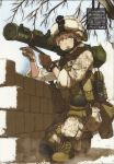 1girl armor at4 blonde_hair blue_eyes boots camouflage desert_camouflage gloves goggles hair_bun helmet highres knee_pads kneeling load_bearing_vest marine_corps marpat military military_uniform open_mouth original plate_carrier pointing pouch radio rocket_launcher scan scan_artifacts shibafu_(glock23) soldier solo squatting text_focus translation_request uniform wall weapon