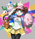 1girl :o black_legwear blue_eyes blue_sleeves brown_hair character_request cowboy_shot creatures_(company) double_bun floating_hair game_freak gen_5_pokemon hat highres long_hair long_sleeves mei_(pokemon) miniskirt nintendo pantyhose peppedayo_ne poke_ball_print pokemon pokemon_(creature) pokemon_(game) pokemon_bw2 shirt skirt standing tepig twintails very_long_hair visor_cap white_shirt yellow_skirt