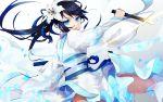 1girl absurdres black_hair blue_eyes dagger fate/grand_order fate_(series) flower hagoromo hair_flower hair_ornament highres japanese_clothes jing_ke_(fate/grand_order) kimono obi petals reverse_grip sash shawl smile tia_(cocorosso) weapon