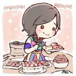 1girl armband black_eyes black_hair blush_stickers cake character_age character_name chibi collared_dress dress food grill happy_birthday hkt48 holding holding_plate kodama_haruka lowres meat multicolored multicolored_clothes multicolored_dress o_o plate real_life shichirin short_hair smile solo taneda_yuuta tongs