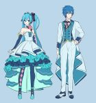 1boy 1girl akiyoshi_(tama-pete) alternate_costume argyle argyle_legwear arm_at_side arms_at_sides black_ribbon blue_background blue_dress blue_eyes blue_footwear blue_hair blue_nails blue_ribbon choker dress elbow_gloves eyebrows_visible_through_hair fingerless_gloves flower formal frilled_dress frills full_body gloves hand_in_pocket hatsune_miku headset jacket kaito long_hair nail_polish pants pantyhose parted_lips pink_flower pink_rose ribbon ribbon_hair rose short_dress simple_background smile standing strapless strapless_dress twintails very_long_hair vocaloid waiscoat