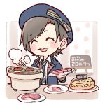 1girl :d ^_^ beret black_hair black_neckwear blue_headwear blue_jacket blush_stickers bow character_name chibi closed_eyes closed_eyes commentary_request dated earrings food green_bow grill happy_birthday hat hat_bow hkt48 holding holding_plate jacket jewelry kodama_haruka long_sleeves meat necktie open_mouth pastry plate real_life shichirin shirt short_hair smile solo steam striped striped_neckwear taneda_yuuta tongs upper_body