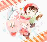 :d adeleine black_skirt brown_footwear crystal dress green_shirt hair_ribbon heart kirby kirby_(series) nintendo open_mouth paint pastel_colors pink_dress polka_dot red_headwear ribbon ribbon_(kirby) shirt skirt smile striped user_vhuz3778