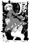 1girl bag blackcat_(pixiv) breasts collared_dress daikon dated dot_nose dress electricity eyebrows_visible_through_hair floating ghost_tail greyscale groceries grocery_bag hair_between_eyes hat hat_ribbon holding holding_bag lightning_bolt long_sleeves looking_at_viewer monochrome multiple_tails new_mask_of_hope radish ribbon shopping_bag short_hair sleeves_past_fingers sleeves_past_wrists soga_no_tojiko tail tate_eboshi touhou toyosatomimi_no_miko two_tails