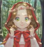 1girl artist_name basket brown_hair capelet closed_mouth dappled_sunlight dated day flower flower_wreath forest frilled_sleeves frills green_eyes head_wreath highres hood hood_up hooded_capelet little_red_riding_hood little_red_riding_hood_(grimm) long_hair long_sleeves looking_at_viewer nature original outdoors peiyu_zhou pink_flower pink_rose rose smile solo sunlight tree upper_body