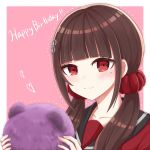 1girl blush brown_hair collarbone commentary_request danganronpa dot_nose eyebrows_visible_through_hair face hair_ornament hairclip happy_birthday harukawa_maki heart highres holding holding_stuffed_toy long_hair looking_at_viewer low_twintails mole mole_under_eye new_danganronpa_v3 piatin red_eyes red_scrunchie red_shirt scrunchie shirt simple_background solo twintails two-tone_background wavy_mouth