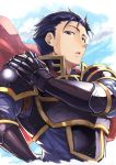 1boy armor axe blue_eyes blue_hair cape fire_emblem fire_emblem:_rekka_no_ken fire_emblem_heroes gloves hector_(fire_emblem) highres looking_at_viewer male_focus nakabayashi_zun nintendo short_hair simple_background solo weapon