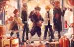 1girl 4boys axel_(kingdom_hearts) ayano_(katou) backpack bag blonde_hair boots brown_hair candy casual christmas coat eating food gift hood hood_down hoodie jacket kairi_(kingdom_hearts) kingdom_hearts lollipop looking_at_viewer multiple_boys open_mouth redhead riku roxas shoes shopping_bag silver_hair smile sneakers snow snowing sora_(kingdom_hearts) spiky_hair storefront stuffed_animal stuffed_toy teddy_bear walking window