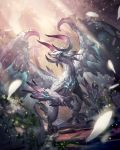 blue_eyes claws commentary_request dragon feathered_wings fireflies highres horns liebe light_rays looking_up nature no_humans original petals pixiv_fantasia pixiv_fantasia_last_saga ruins scenery solo standing sunbeam sunlight wings