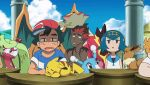 3boys 3girls alolan_vulpix animated animated_gif black_hair blonde_hair blue_eyes blue_hair blush brionne brown_eyes charizard covering_mouth creatures_(company) eevee game_freak gen_1_pokemon gen_4_pokemon gen_7_pokemon green_eyes green_hair hand_over_own_mouth huge_filesize kaki_(pokemon) lillie_(pokemon) mamane_(pokemon) mao_(pokemon) multiple_boys multiple_girls nintendo pikachu pokemon pokemon_(anime) pokemon_sm_(anime) satoshi_(pokemon) shaymin suiren_(pokemon) tsareena turtonator yawning