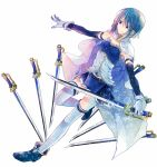 1girl blue_eyes blue_footwear blue_hair blue_skirt blue_sleeves breasts detached_sleeves eyebrows_visible_through_hair frills gloves hair_between_eyes holding holding_sword holding_weapon leg_up long_sleeves mahou_shoujo_madoka_magica miki_sayaka miniskirt outstretched_arms pleated_skirt saber_(weapon) short_hair simple_background skirt small_breasts smile solo standing standing_on_one_leg strapless sword thigh-highs washi_(micino) weapon white_background white_gloves white_legwear zettai_ryouiki