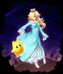 1girl absurdres bare_shoulders blonde_hair blush breasts chiko_(mario) crown dress earrings eyebrows_visible_through_hair full_body hair_over_one_eye highres jewelry long_hair mario_(series) nintendo open_mouth rosalina smile star super_mario_bros. super_mario_galaxy super_smash_bros. tree wand