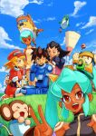 >:( 3boys 4girls :d ;d aosa_(momikin) aqua_hair bare_shoulders barrel_caskett bike_shorts bike_shorts_under_shorts black_hair blonde_hair blush bon_bonne breasts brown_gloves brown_hair cabbie_hat capcom closed_mouth clouds commentary_request dark_skin data_(rockman_dash) earrings eyebrows_visible_through_hair eyes_visible_through_hair flutter full_body gloves grass green_eyes hair_pulled_back hair_slicked_back hairband hand_up happy harem hat jealous jewelry kobun long_hair looking_at_another looking_at_viewer monkey multiple_boys multiple_girls neck nib_pen_(medium) one_eye_closed open_mouth orange_eyes outdoors pink_hairband red_eyes red_headwear red_shorts robot rock_volnutt rockman rockman_dash roll_caskett round_teeth sera_(rockman_dash) short_hair shorts sitting sky sleeveless sleeveless_turtleneck smile standing sweatdrop teeth teisel_bonne thigh-highs traditional_media tron_bonne turtleneck twintails upper_body upper_teeth v wariza wince yuna_(rockman_dash)