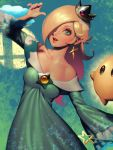 1girl bare_shoulders bellhenge blonde_hair blue_eyes breasts cleavage crown dress earrings hair_over_one_eye jewelry lips long_hair looking_at_viewer mario_(series) nintendo open_mouth rosalina simple_background smile solo star star_earrings super_mario_galaxy super_smash_bros. wand