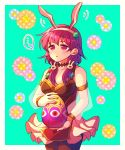 ... 1girl adapted_costume alternate_costume animal_ears aqua_background armlet black_legwear bracelet breasts bunny_hair_ornament cleavage cowboy_shot dress easter easter_egg egg fire_emblem fire_emblem:_seima_no_kouseki fire_emblem_heroes floral_background frilled_dress frills hair_ornament hairband hzk_(ice17moon) jewelry lute_(fire_emblem) medium_breasts nintendo pantyhose parted_lips purple_hair rabbit_ears see-through short_dress short_hair sidelocks simple_background sleeveless sleeveless_dress solo spoken_ellipsis violet_eyes