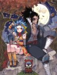 1boy 1girl :d :t bandage bandaged_leg bandages black_hair black_pants blue_hair blush brown_eyes detached_sleeves eyepatch fairy_tail floral_print food forest full_body full_moon gajeel_redfox grey_kimono grey_sleeves headband high_ponytail highres holding holding_food holding_sword holding_weapon japanese_clothes kimono levy_mcgarden long_hair moon nature night nose_piercing onigiri open_mouth orange_kimono outdoors pantherlily pants piercing print_kimono red_ribbon ribbon rusky sheath short_kimono shoulder_armor sitting sleeveless sleeveless_kimono smile sword thigh_ribbon tree unsheathing v-shaped_eyebrows weapon white_ribbon