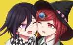 1boy 1girl black_headwear black_jacket cheek-to-cheek commentary_request danganronpa dot_nose eyebrows_visible_through_hair hair_between_eyes hair_ornament hat highres jacket looking_at_another new_danganronpa_v3 one_eye_closed ouma_kokichi piatin plaid plaid_scarf purple_hair red_eyes redhead scarf shirt short_hair simple_background violet_eyes white_shirt witch_hat yellow_background yumeno_himiko