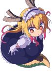 1girl \||/ absurdres bangs breasts brown_horns colored_eyelashes cool-kyou_shinja dragon_girl dragon_horns dragon_tail eyebrows_visible_through_hair full_body gloves gradient_hair green_scales hair_between_eyes highres horns kobayashi-san_chi_no_maidragon large_tail leaning_forward legs_together long_hair looking_at_viewer maid_headdress multicolored multicolored_eyes multicolored_hair orange_eyes orange_hair parted_hair pink_hair raised_eyebrows red_eyes red_neckwear scales simple_background sketch_eyebrows slit_pupils solo tail tooru_(maidragon) twintails white_background white_gloves wide-eyed
