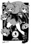 1girl :3 belt_boots black_background black_eyes black_footwear black_shirt blackcat_(pixiv) boots bow cape chains covered_mouth dated disembodied_head dot_nose english_text floating_head grass_root_youkai_network greyscale hair_between_eyes hair_bow headless long_sleeves looking_at_viewer meme miniskirt monochrome open_mouth sekibanki shirt short_hair skirt surprised tongue tongue_out touhou v-shaped_eyebrows yao_ming yukkuri_shiteitte_ne