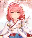 1girl blush capelet cherry_blossoms fire_emblem fire_emblem_if flower hairband haru_(nakajou-28) holding_branch japanese_clothes light_particles nintendo petals pink_eyes pink_hair portrait sakura_(fire_emblem_if) shiny shiny_hair short_hair sleeves_past_wrists smile solo tree upper_body