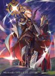 1girl armor black_armor black_gloves closed_mouth clouds company_name copyright_name crown fire_emblem fire_emblem_cipher fire_emblem_heroes full_body gloves grey_hair hair_ornament holding holding_staff horse kureta_(nikogori) long_hair long_sleeves nintendo official_art outdoors red_eyes sky solo staff standing veronica_(fire_emblem) wide_sleeves