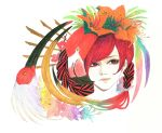 1girl absurdres bird braid crested_ibis feathers flamingo flower graphite_(medium) hair_flower hair_ornament hibiscus highres long_hair looking_at_viewer mechanical_pencil original pencil pink_eyes redhead rreinn simple_background solo traditional_media watercolor_(medium) white_background
