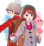 1boy 1girl :d back-to-back backpack bag bangs bobblehat brown_eyes brown_hair cardigan collared_shirt creatures_(company) eyebrows_visible_through_hair female_protagonist_(pokemon_swsh) game_freak green_headwear grey_cardigan grey_headwear highres holding holding_poke_ball long_sleeves looking_at_viewer male_protagonist_(pokemon_swsh) motu0505 nintendo open_mouth outline pink_shirt poke_ball poke_ball_(generic) pokemon pokemon_(game) pokemon_swsh shirt short_hair smile swept_bangs tam_o'_shanter teeth white_outline