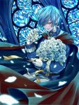 1boy blue_hair bouquet cape cartolaio flower gloves holding holding_bouquet indoors long_sleeves looking_at_viewer male_focus orange_eyes original petals red_cape smirk solo stained_glass standing white_gloves