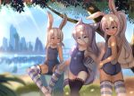 3girls absurdres animal_ears bangs black_legwear blue_sky blurry blurry_background blush breasts bunny_girl bunny_tail city day grey_hair hair_between_eyes highres hotel01 light_rays long_hair mole mole_under_eye multiple_girls open_mouth original outdoors pink_hair ponytail rabbit_ears school_swimsuit short_hair sitting sky small_breasts smile spread_legs standing striped striped_legwear sunbeam sunlight swimsuit tail tan tanline thigh-highs towel tree water wet white_hair