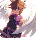 1boy alternate_color angel_wings bracer brown_hair dark_persona feathers gloves jewelry kid_icarus looking_at_viewer male_focus nintendo pit_(kid_icarus) short_hair simple_background solo tiara violet_eyes wings wusagi2
