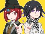 1boy 1girl black_hair black_headwear bob_cut checkered checkered_scarf commentary_request danganronpa dot_nose eyebrows_visible_through_hair hair_between_eyes hair_ornament hairclip hat heart highres jacket looking_at_viewer new_danganronpa_v3 ouma_kokichi piatin pink_heart pointing pointing_at_viewer purple_hair red_eyes redhead scarf school_uniform shirt simple_background smile straitjacket sweater violet_eyes white_jacket witch_hat yellow_background yumeno_himiko