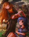 2girls animal_ears bangs black_dress black_headwear blonde_hair blue_dress blue_hair bunny_tail closed_eyes clouds crying crying_with_eyes_open dress ear_clip eyebrows_visible_through_hair facing_another flower grass holding holding_flower junko_(touhou) kayon_(touzoku) long_hair looking_at_another multiple_girls on_ground outdoors parted_lips puffy_short_sleeves puffy_sleeves rabbit_ears red_eyes seiran_(touhou) short_sleeves sitting sky star_(sky) starry_sky sunset tabard tail tears touhou very_long_hair