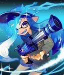 1girl :d blue_eyes blue_hair blue_tongue cowboy_shot domino_mask fang glowing glowing_eye grey_hoodie grey_shorts h-3_nozzlenose_(splatoon) holding hood hood_down hoodie inkling legs_apart long_hair long_sleeves looking_at_viewer mask o_(maru14mori) open_mouth pointy_ears purple_headwear shorts smile solo splatoon splatoon_(series) splatoon_2 suction_cups teeth tentacle_hair visor_cap