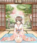 1girl blue_eyes blush brown_hair cherry_blossoms flower grass hair_flower hair_ornament handesu highres japanese_clothes kimono long_hair obi original petals rock sash scenery sitting smile solo tatami tree wariza wide_sleeves wind_chime