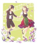 1boy 1girl black_jacket black_shirt black_shorts braid breasts brown_eyes brown_footwear brown_hair brown_headwear cleavage collarbone collared_shirt dress_shirt eiji_(sao) eye_contact floating_hair flower frilled_skirt frills grey_legwear hand_holding hand_on_headwear hat highres ice_delicious jacket jewelry kneehighs looking_at_another medium_skirt musical_note necklace open_clothes open_jacket print_shorts purple_flower red_skirt shirt short_hair short_sleeves shorts single_braid skirt skirt_hold staff_(music) sword_art_online white_flower white_shirt white_sleeves wing_collar yuna_(sao)