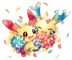 :d closed_eyes commentary creature creatures_(company) game_freak gen_3_pokemon happy holding holding_pom_poms minun nintendo no_humans open_mouth plusle pokemon pokemon_(creature) pom_poms rrrpct simple_background smile traditional_media watercolor_(medium) white_background