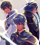 1girl 2boys blue_eyes blue_hair cape family father_and_daughter fingerless_gloves fire_emblem fire_emblem:_ankoku_ryuu_to_hikari_no_tsurugi fire_emblem:_kakusei fire_emblem:_monshou_no_nazo fire_emblem:_shin_ankoku_ryuu_to_hikari_no_tsurugi fire_emblem:_shin_monshou_no_nazo fire_emblem_heroes gloves haraitai highres holding holding_sword holding_weapon intelligent_systems krom long_hair looking_at_viewer lucina marth multiple_boys nintendo pauldrons smile sora_(company) super_smash_bros. super_smash_bros._ultimate super_smash_bros_brawl super_smash_bros_for_wii_u_and_3ds sword tiara traditional_media watercolor_(medium) weapon