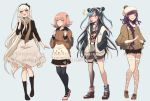 4girls :3 alternate_costume belt black_belt black_bow black_footwear black_hair black_legwear black_skirt black_sweater blonde_hair blue_hair blush boots bow braid breasts brown_scarf chewing_gum commentary criis-chan danganronpa ear_piercing english_text eyebrows_visible_through_hair fishnet_legwear fishnets hair_bow hair_ornament hairband hairclip jacket lip_piercing long_hair long_skirt long_sleeves looking_at_another miniskirt mioda_ibuki mismatched_legwear multicolored_hair multiple_girls nanami_chiaki open_clothes open_jacket piercing pink_eyes pink_footwear pink_hair scarf shoes short_hair shorts simple_background skirt sonia_nevermind stitches super_danganronpa_2 sweater thigh-highs tsumiki_mikan tumblr_username two-tone_jacket upper_teeth very_long_hair white_hair wide_sleeves