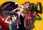 backpack bag black_hair blonde_hair blue_eyes blush bodysuit breasts brown_eyes gwen_stacy hat highres hood long_hair looking_at_viewer marvel mask miles_morales multiple_boys one_eye_closed peni_parker pig_boy school_uniform shibata_yuusaku short_hair silk skirt smile sp//dr spider-gwen spider-ham spider-man spider-man:_into_the_spider-verse spider-man_(miles_morales) spider-man_(series) spider-man_noir spider_web spider_web_print superhero v