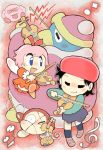 :d adeleine bound closed covering_ears eyes hal_laboratory_inc. hoshi_no_kirby hoshi_no_kirby_64 instrument king_dedede kirby kirby_(series) kirby_64 nintendo note oda_takashi open_mouth ribbon_(kirby) smile tied_up traditional_media violin waddle_dee watercolor_(medium) xp_(expression)