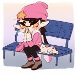 +_+ 1girl animal aori_(splatoon) beanie bench black_hair black_legwear brown_footwear calico cat coula_cat covered_mouth domino_mask full_body fur-trimmed_sleeves fur_trim hands_together hands_up hat hat_ornament jacket long_hair long_sleeves mask mole mole_under_eye multicolored_hair orange_eyes pantyhose pink_hair pink_headwear pink_jacket pointy_ears sitting splatoon splatoon_(series) splatoon_2 star symbol-shaped_pupils tentacle_hair two-tone_hair
