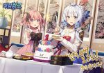2girls ahoge alternate_costume azur_lane blue_eyes blush cake candle commentary_request flower food food_in_mouth fork hair_flower hair_ornament hair_ribbon illustrious_(azur_lane) korean_clothes korean_text looking_at_viewer low_twintails medium_hair multiple_girls official_art pink_hair plate pot ribbon saratoga_(azur_lane) short_hair silver_hair sparkle sparkling_eyes table tea twintails violet_eyes
