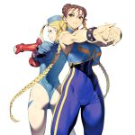 2girls absurdres ahoge armlet ass back-to-back blonde_hair blue_eyes bodysuit bracelet braid brown_eyes brown_hair cammy_white capcom chun-li cozy double_bun flexing hair_ribbon hat highres jewelry leotard looking_back multiple_girls pose ribbon simple_background single_braid street_fighter street_fighter_zero_(series) white_background wrist_guards