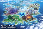city cliff clouds cloudy_sky commentary_request continents day dragon fantasy floating_island from_above highres island mountain ocean official_art outdoors scenery shiki_makoto sky water watermark world_map zenonzard
