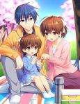 1boy 2girls antenna_hair blue_dress blue_eyes blue_hair bow brown_eyes brown_hair cherry_blossoms clannad commentary_request day dress family father_and_daughter full_body furukawa_nagisa fuyuichi hair_bow hair_ribbon husband_and_wife mother_and_daughter multiple_girls official_art okazaki_tomoya okazaki_ushio outdoors ponytail ribbon short_hair socks spoilers thermos tree white_legwear white_ribbon