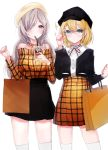 2girls alternate_costume bag beret blonde_hair blouse blue_eyes coffee cup disposable_cup drinking_straw eyebrows_visible_through_hair g36_(girls_frontline) g36c_(girls_frontline) girls_frontline glasses hair_over_one_eye hat highres ice ice_cube iced_coffee multiple_girls peanutc shopping shopping_bag siblings sisters thigh-highs violet_eyes white_hair