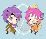 1boy 1girl arm_up artist_name bird cape card chibi closed_eyes closed_mouth dress fa facial_mark fire_emblem fire_emblem:_fuuin_no_tsurugi fire_emblem_cipher forehead_mark holding hugh long_sleeves mamkute nintendo open_mouth purple_hair short_hair smile tobi_(kotetsu) violet_eyes