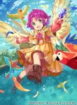 1girl bird blue_sky boots clouds company_name copyright_name day dress fa facial_mark feathered_wings feathers fire_emblem fire_emblem:_fuuin_no_tsurugi fire_emblem_cipher forehead_mark full_body green_eyes holding long_sleeves mamkute nintendo official_art open_mouth outdoors pointy_ears purple_hair short_hair sky solo stone tobi_(kotetsu) water wings