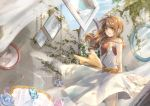 1girl absurdres arm_behind_back bird birdcage blue_sky brown_hair bug butterfly cage chains day dress flower green_eyes highres huge_filesize insect long_hair looking_at_viewer overgrown painting plant shadow sky smile solo standing sunlight vines